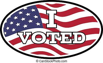 böllér, vektor, háttér., szöveg, embléma, egyesült államok, ábra, voted, lobogó