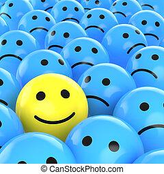 bús, boldog, között, egyek, smiley