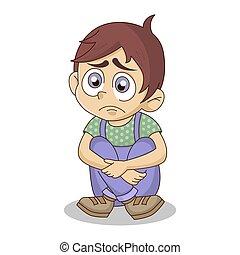bús, child., unott, lehangolt, ülés, fiú, karikatúra, vagy, ábra, egyedül, vektor, floor., elszigetelt, elhagyott, fehér, háttér.