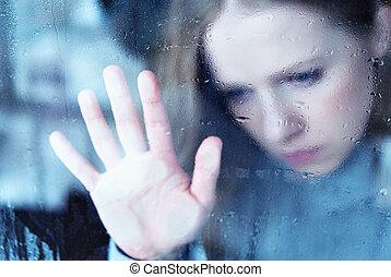 bús, leány, ablak, eső, melankólia