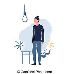 bús, suicide., ember, gondol, pasas, körülbelül, lehangolt