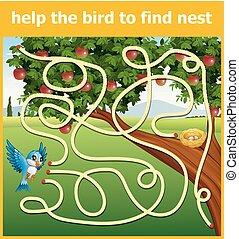 búvóhely, talál, segítség, madár