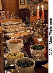 büfé, elterjed, fényűzés, finom, asztal, esemény