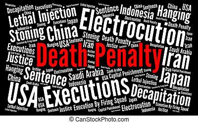 büntetés, halál, fogalom, szó, felhő
