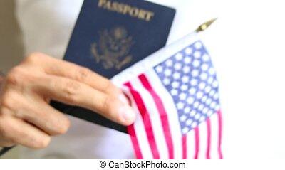 büszke, útlevél, american., bennünket