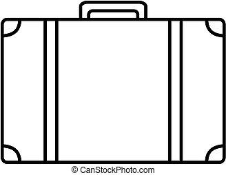 bőrönd, icon., vektor, illustration., áttekintés