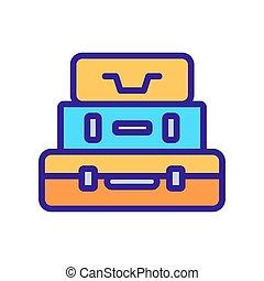bőrönd, kazal, ikon, vektor, áttekintés, ábra