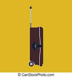 bőrönd, kilátás, targonca, elszigetelt, vektor, málhazsák, táska, utazás, barna, lejtő, szünidő, utazás, white., icon., poggyász, fogantyú