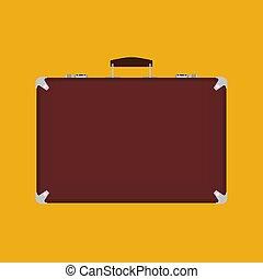 bőrönd, kilátás, targonca, elszigetelt, vektor, málhazsák, táska, utazás, barna, szünidő, utazás, white., icon., poggyász, fogantyú, elülső
