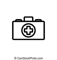 bőrönd, medikus, ikon, áttekintés, ábra, vektor