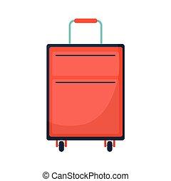 bőrönd, utazás, piros, szín