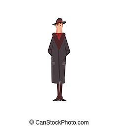 bőr, betű, ábra, úriember, viktoriánus, vektor, black kalap