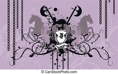 bőr, címertani, background4, fegyver