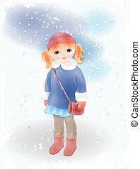 bőr, hat., vízfestmény, táska, kötött, leány, clothing., mód, girl's, tél, style., szüret