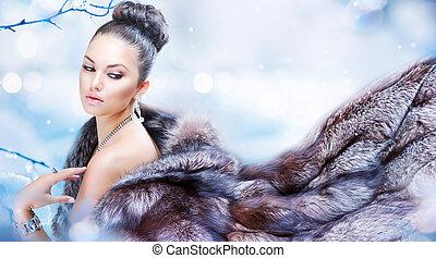 bőr, nő, szőr, tél, fényűzés
