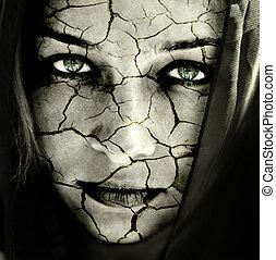 bőr, repedt, woman arc