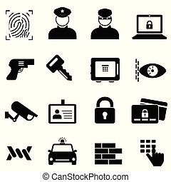 bűncselekmény, biztonság, biztonság, ikonok