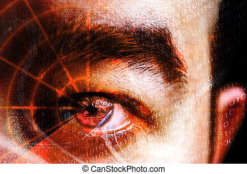 bűncselekmény, szem, kibernetikai