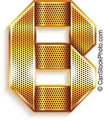 b betű, arany, fém, -, levél, szalag