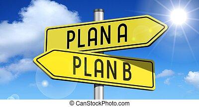 b betű, -, egy, sárga, road-sign, terv