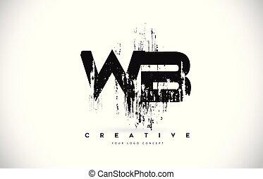 b betű, grunge, wb, fekete, befest, vektor, tervezés, ecset, nyugat, levél, jel, illustration.