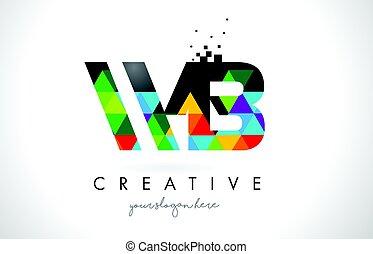 b betű, wb, színes, struktúra, tervezés, nyugat, levél, jel, háromszögek, vector.