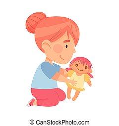 baba ül, játék, emelet, leány, vektor, ábra, kevés, játékszer, kindergarden