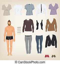 baba, feláll, vektor, csípőre szabott, osztályozás, ruha, öltözék