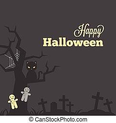 baba, megkövez, mód, káromkodik, vagy, poszter, udvar, meghívás, mindenszentek napjának előestéje, nyomdai, köszönés, fű, kereszt, tervezés, komoly, szüret, black macska, pókháló, kártya, boldog
