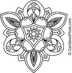 babarózsa, öreg, flower., tetovál, gyönyörű, díszítő
