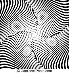 backdrop., elvont, megvonalaz, mozgalom, ábra, háttér., tervezés, levetkőzik, örvény, monochrom, vector-art, illúzió, csavarodás