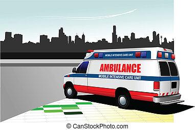backgr, város, modern, furgon, mentőautó