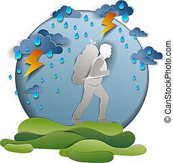 backpack., gyalogló, vektor, természetjárás, viharos, túlélés, égiháború, ábra, ünnepek, vacations., kiránduló, időjárás, át, ember, eső, szállítás, pasas, motiváció, test.