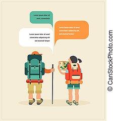 backpackers, párosít, panama, vektor, poszter, szüret, beszéd
