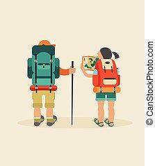 backpackers, párosít, vektor, szüret, poszter