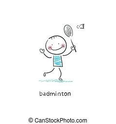 badminton., ember, illustration., játék