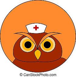 bagoly, ábra, orvosi, háttér., vektor, kalap, fehér