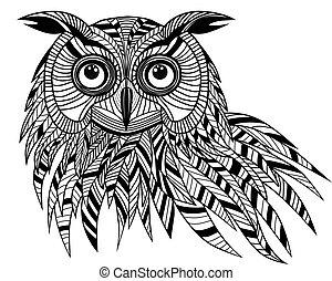 bagoly, fej, t-shirt., embléma, tetovál, jelkép, mindenszentek napjának előestéje, skicc, ábra, tervezés, madár, vektor, jel, kabala, vagy, design.