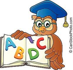 bagoly, kép, tanár, téma, 2, nyitott könyv