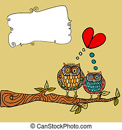 bagoly, szeret, köszönés kártya