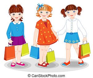 bags., kevés, shopping., lány
