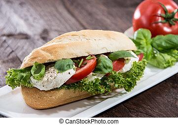 baguette, mozzarella, házi készítésű, tányér