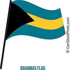 bahamas, flag., nemzeti, ábra, hullámzás, háttér., lobogó, vektor, fehér