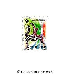 bajnokság, bélyeg, 2002, emlékeztető, nyerte, juventus, olasz