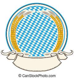 bajorország, lobogó, felcsavar, háttér, oktoberfest, elszigetelt, fehér, címke, szöveg