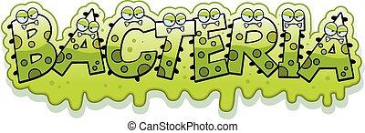 baktérium, iszapos, karikatúra, szöveg