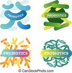 baktérium, vektor, gyűjtés, anatómiai, címkével ellátott, egészség, ábra, closeup., probiotics, set., művészi, biológia, ikon, basics., wellbeing, jó