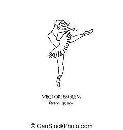 balerina, elszigetelt, vektor, egyenes, fehér, ikon
