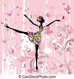 balerina, pillangók, menstruáció, grunge, leány
