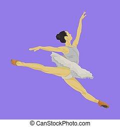balerina, táncos, ugrás